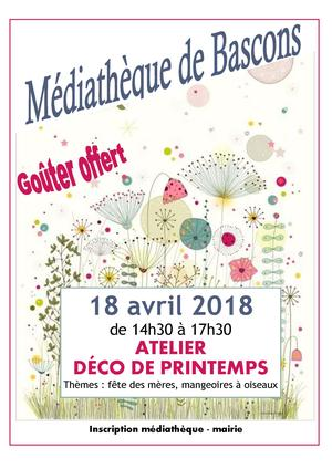 Atelier DECO de PRINTEMPS le 18 avril